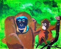 Laurie-Bradley_age-7_Orangutan-Mother-and-Child_50x40cm-Acrylic-Paint-on-canvas_UK